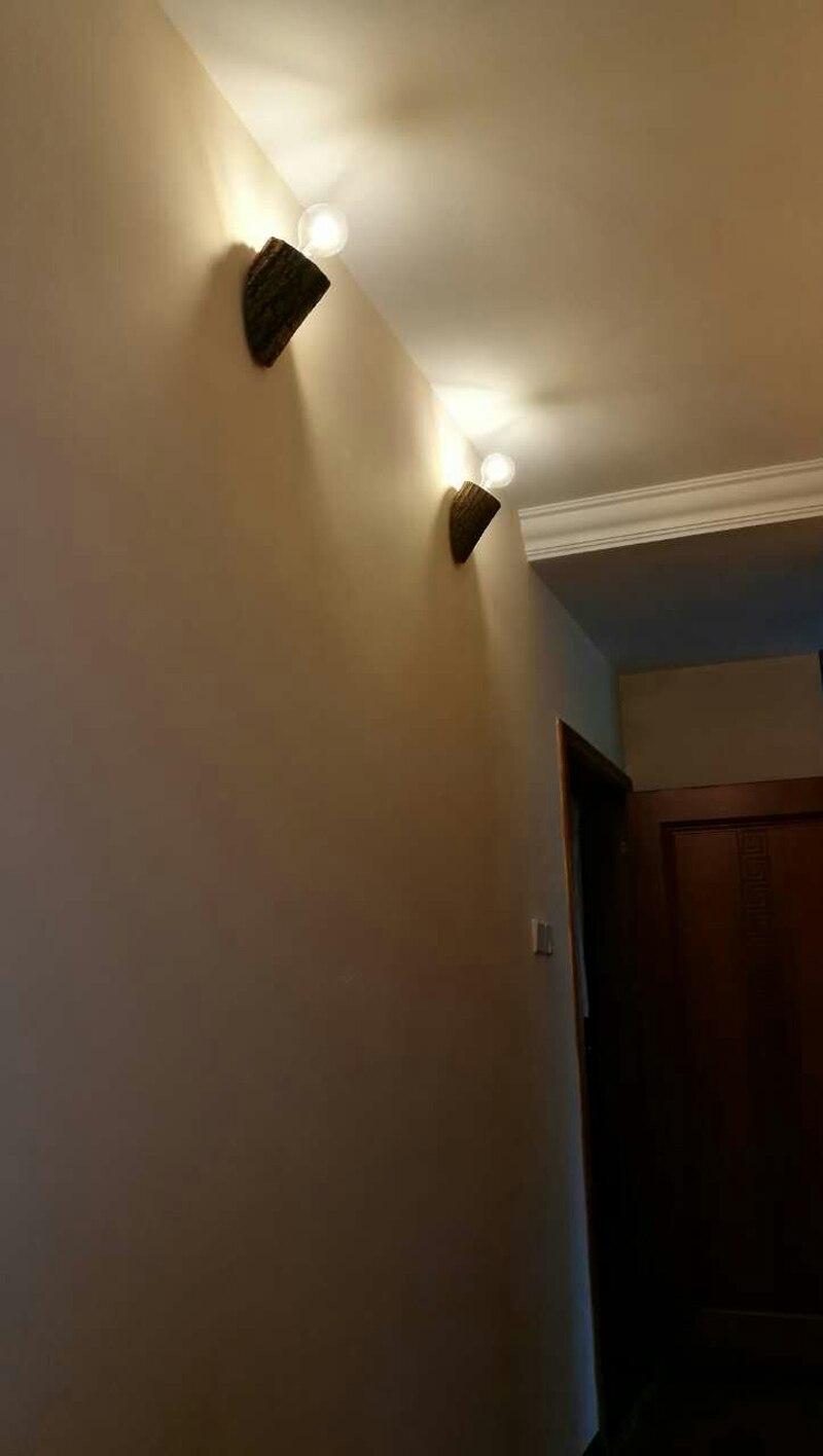 Natural de madeira lâmpada de parede lâmpada