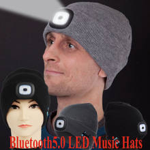 Washable Bluetooth 4 LED Music Beanie-Hat Headset With USB Rechargeable Speaker Unisex Women Men Wireless Smart Cap(China)