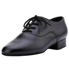 Noir En Cuir Costume Moderne/Tango/Salle De Bal/De Danse Latine Chaussures Pour Hommes Bas Talon