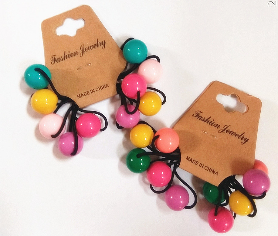 10pcs/Lot  Fashion Hair Band  Round Ball Kids Elastic Hair Bands Elastic Hair Tie Children Rubber Hair Band Gift For Girls