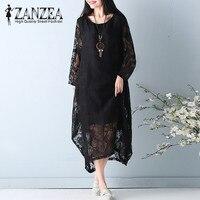 Top Blusas ZANZEA Women Fashion Long Sleeve Casual Lace Croche OL Vestido Loose Party Holiday Solid