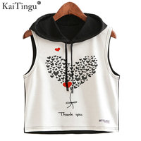KaiTingu 2017 Summer Women Hoodied Crop Top Heart Love Print Casual Sleeveless Short Cropped Tops Hip