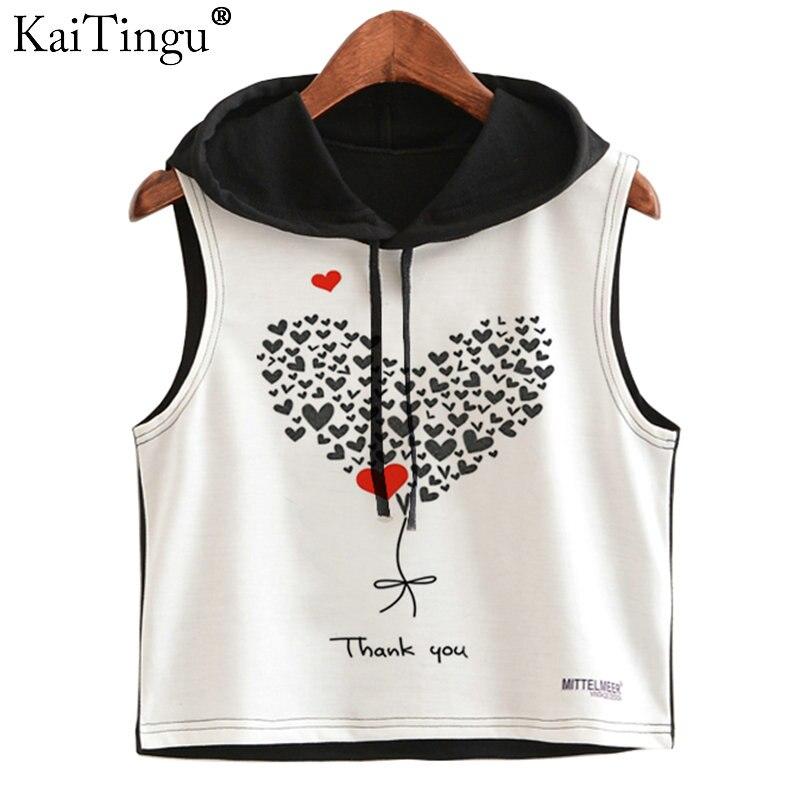 KaiTingu 2017 Summer Women Hoodied Crop Top Heart Love Print Casual Sleeveless Short Cropped Tops Hip Hop Style Vest Tank Tops
