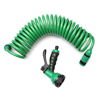 7.5m Flexible Coiled Spiral Garden Car Washing Clean Water Hose With 7 Pattern Spray Nozzle For Household Car Wash Garden Water|Garden Hoses & Reels|   -