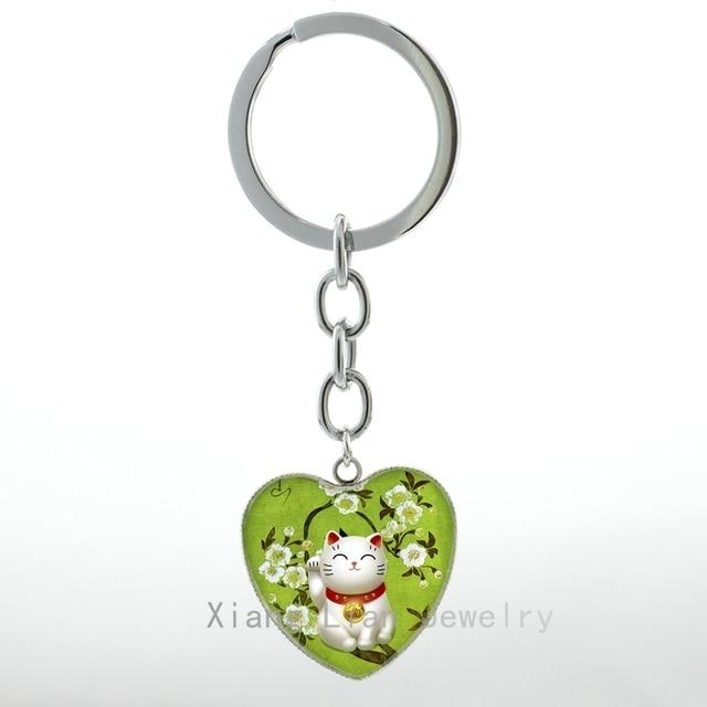 Verde bonito Maneki Neko Congratulando Gato chaveiro Pingente anel Jóias Japão Japonês Gato Acenando Gato Afortunado chaveiro Talismã H88