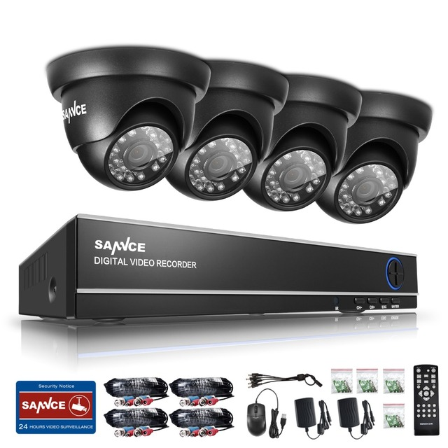 SANNCE 4CH AHD CCTV Security DVR System HDMI 720 1200TVL Weatherproof Outdoor CCTV Camera 1.0MP AHD Surveillance Kit