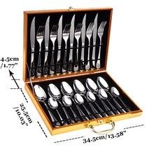 Stainless Steel 24Pcs Dinnerware Set Tableware Fork Tea Knife Cutlery Set Dining Utensils Gold Silver Kitchen Accessories