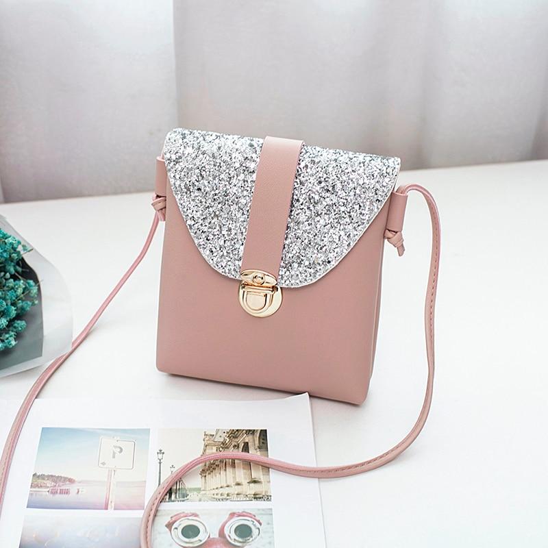 women small bling bling shoulder bag ladys mini cute solid color Glossy handbag cover opening bag cross body bolsas feminina