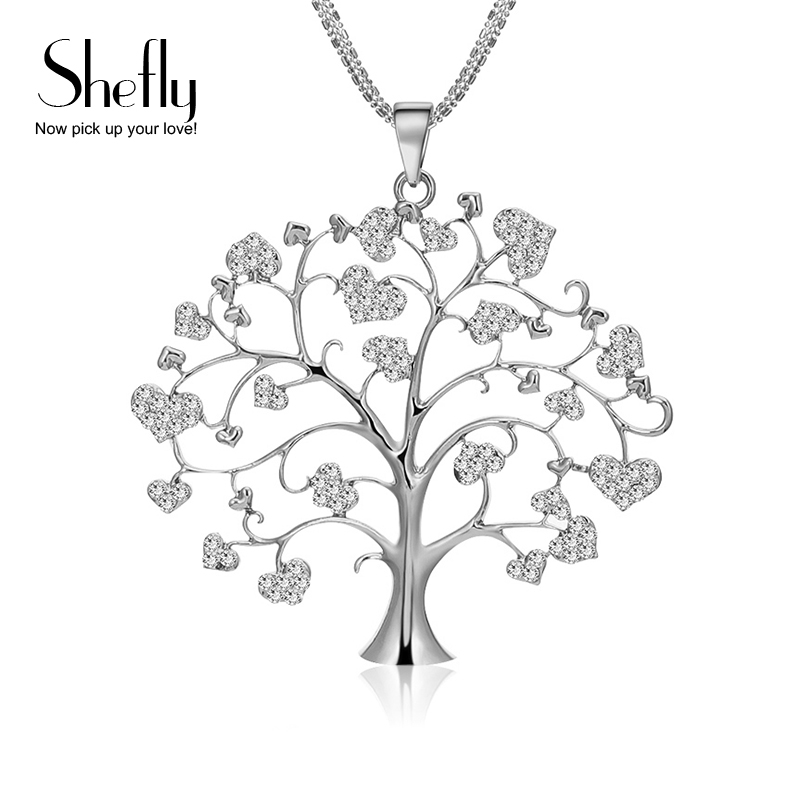 Heart Tree Of Life Pendant Necklace For Women Jewelry Multi Layers Chain Big Crystal Necklaces & Pendants Silver Color XL07222