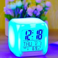 Светодиодный Будильник Настольный цифровой будильник термометр светящийся куб часы