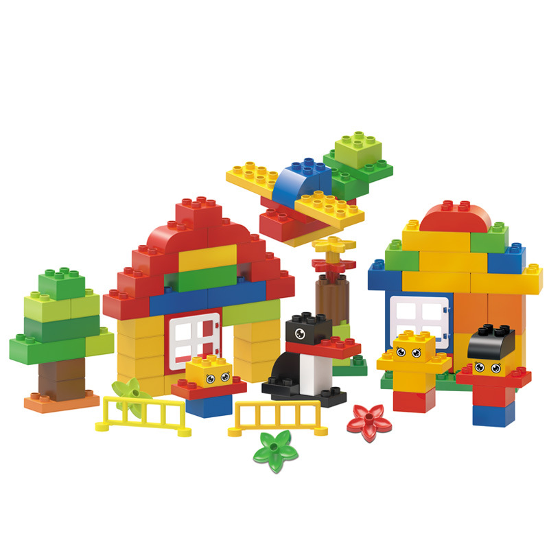 цена на 89PCS Big Size Diy Building Blocks Happy Animals Family Bricks Compatible with Legoingly Duplo Toys for Children Baby Gifts