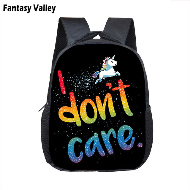I Don t Care Cartoon Unicorn Backpack Boys Girls Kindergarten Bag Children  School Bags Backpack Kids Book Bag Baby Diaper Bags 38f2f05728