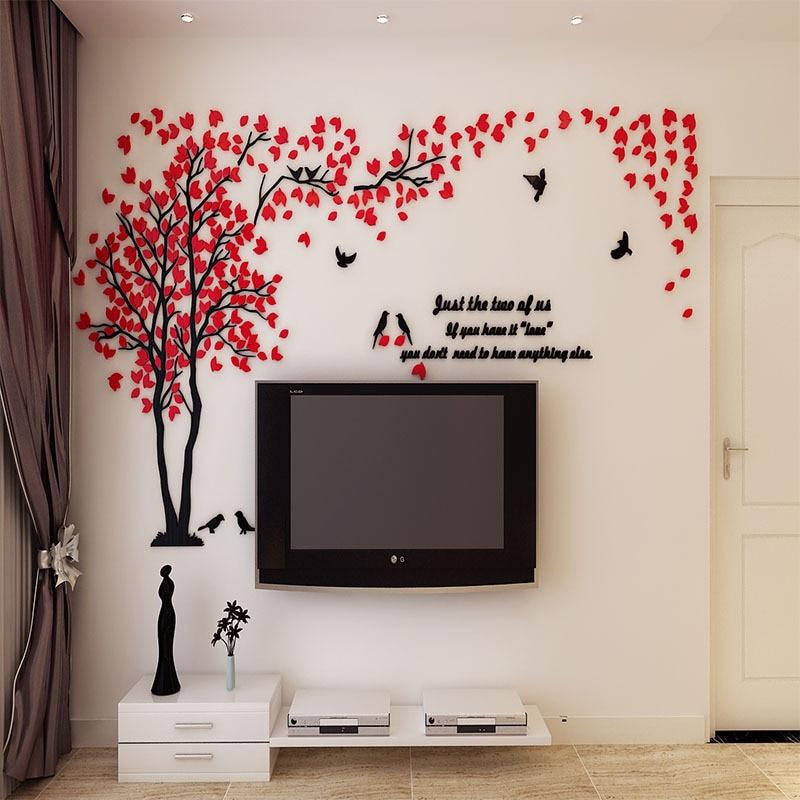 Didelio dydžio medis akrilo dekoratyvinis 3D sienos lipdukas DIY - Namų dekoras - Nuotrauka 3
