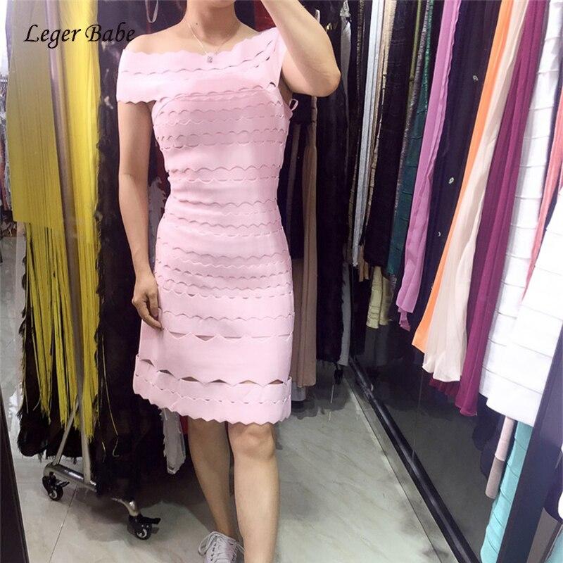 Leger Babe 2018 été évider une ligne Brithday robe de soirée épaule dénudée Mini robe élégante robes Slash cou femmes robes