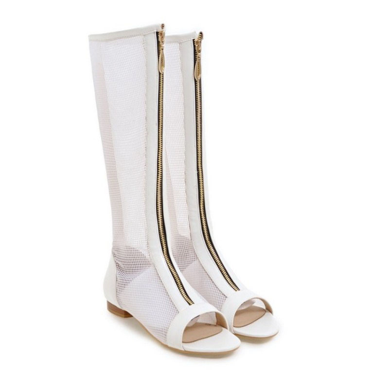 New Gladiator Summer Fashion Zipper High Top Solid Casual Shoes For Womens Mesh Transparent Punk Style White Sandals Plus Size charter club 2738 new womens white cotton henley top shirt petites ps bhfo