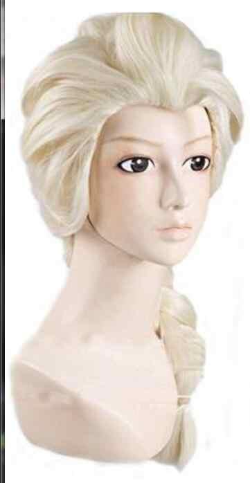 يو المجمدة إلسا الأميرة شعر مستعار تأثيري طويلة النسيج جديلة ضوء باروكة شقراء