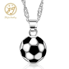 Zhijia Jewelry Trendy Sport Style Football Shape Design Pendant Mens Chain Necklace Vintage Gifts For Men vintage bullet cross shape sweater chain for men