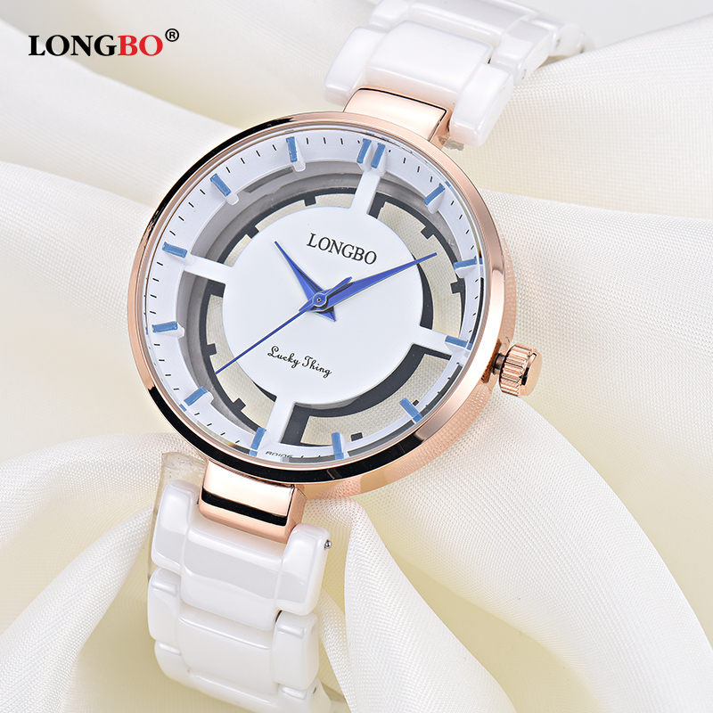 2018 New Luxury Hollow Women Watch Fashion Quartz Ceramic White Gold Strap Women Wrist Watches Relojes Mujer Gifts Female 80106