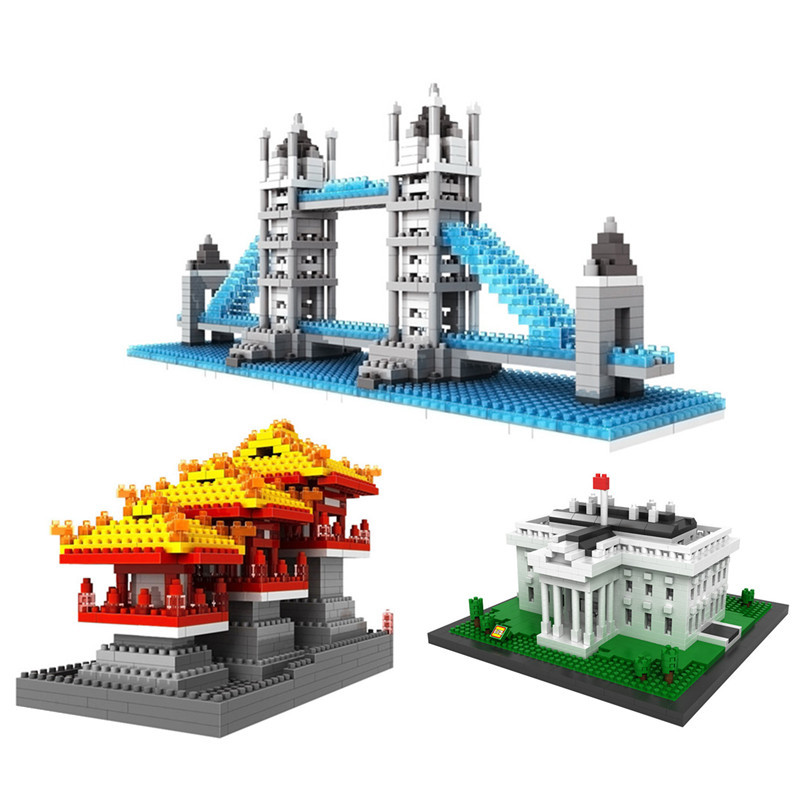 World Architecture Series Tower Bridge Statue of Liberty LOZ Diamond Blocks Assemblage Mini Models Building Toys Gifts loz architecture famous architecture building block toys diamond blocks diy building mini micro blocks tower house brick street
