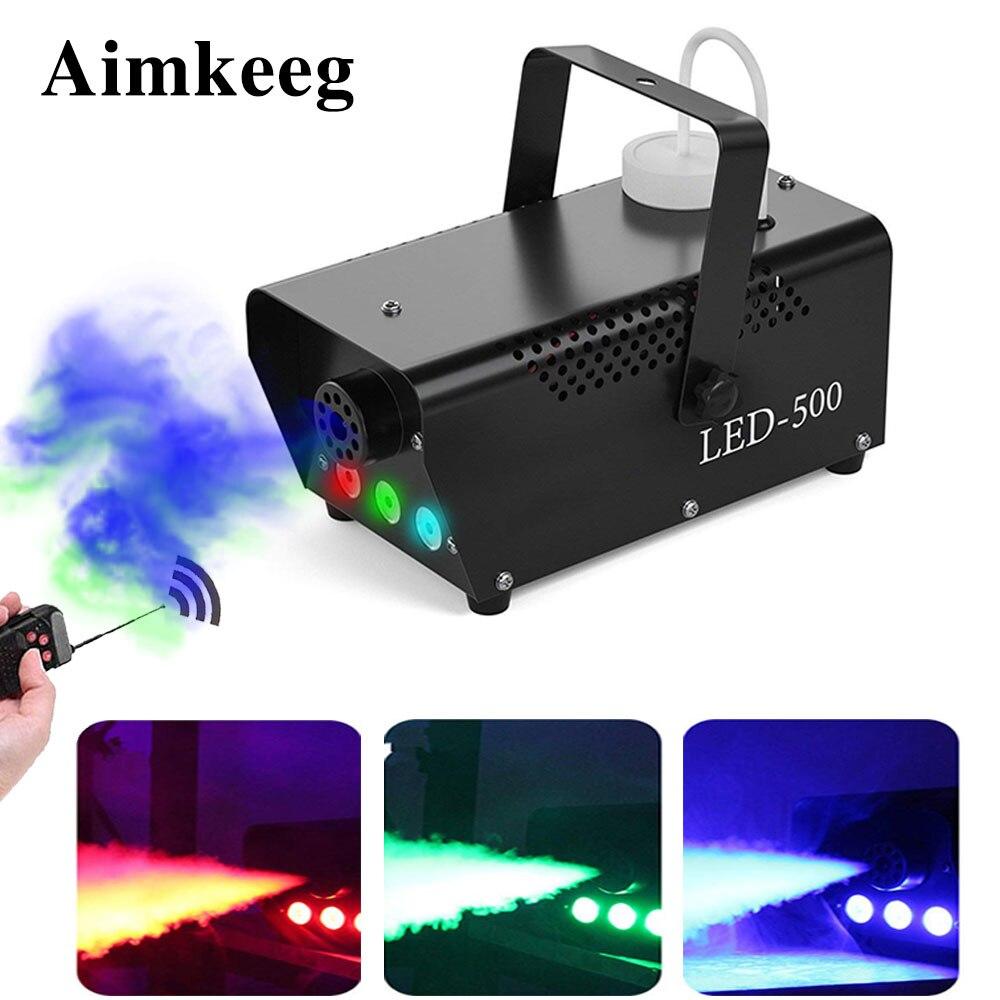 Aimkeeg 500W Wireless Control LED Fog Smoke Machine Remote RGB Color Smoke Ejector LED Professional DJ Party Stage Light