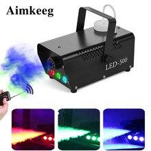 Aimkeeg máquina de humo con Control inalámbrico, eyector de humo de Color RGB con Control remoto, luz de escenario de Fiesta de DJ profesional, 500W
