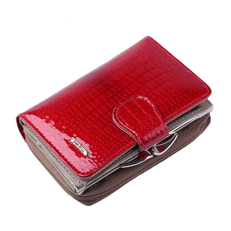Fashion Real Patent Leather Women Short Wallets Small Wallet Coin Holder Credit Card Wallet Female Purses Money Clip Gold Gift