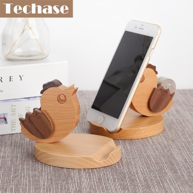 Techase Woodcraft Phone Holders Animal Bird Design Phone Base For