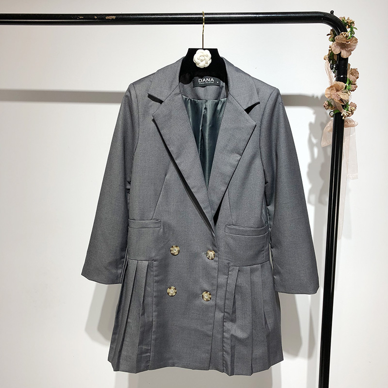 Women's Jacket 2019 Spring New Korean Fashion Pleated Skirt Swing Design Long Double-Breasted Suit Jacket Female