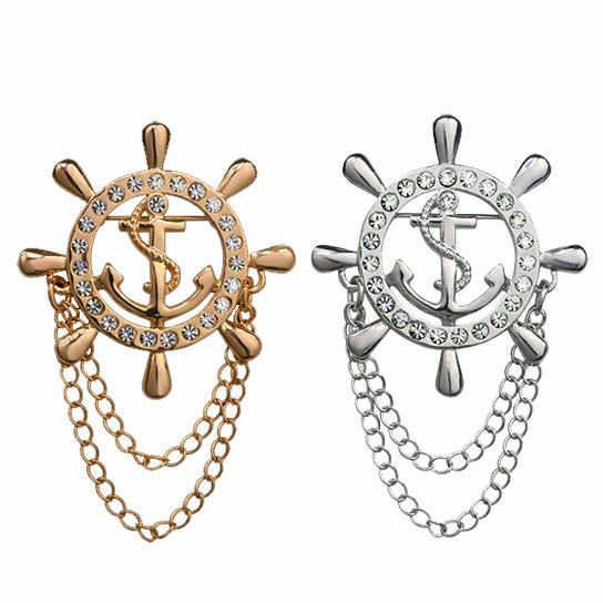 Vintage Navy Gold Kerah Bros Pria Jas Kerah Pin Kapal Helm Jangkar Bros Pria Lencana Wanita Pernikahan Kemeja Brocade Aksesoris