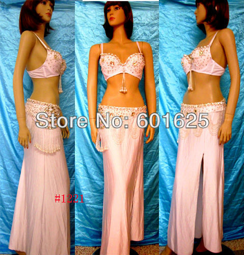 Gratis pengiriman untuk mengukur mede baru jual panas belly dancing kostum  set BRA (38D) + belt + rok 740045daa1