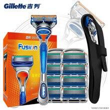 цена на Original Gillette Fusion Shaver Razor Blade Replacement Head For Men Manual Face Care Safety Shaving Blades Holder Razor Blade