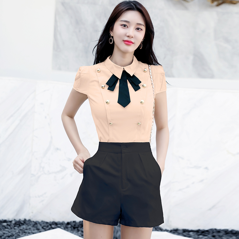 2018 New Summer Women   Shirts   Bow Double Breasted Turn-down Collar Slim Han Fan Ol   Blouse     Shirt   Champagne 248
