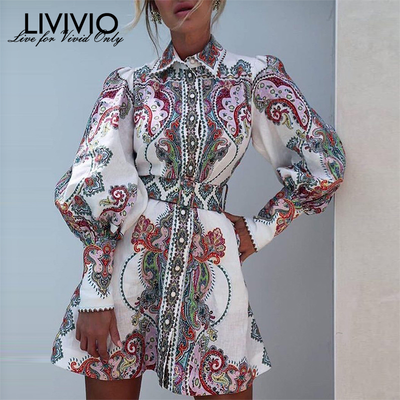 [LIVIVIO] Vintage Floral Print Lantern Long Sleeve Mini Dresses Female Match Belt Waisted 2019 Autumn Clothes For Women Fashion
