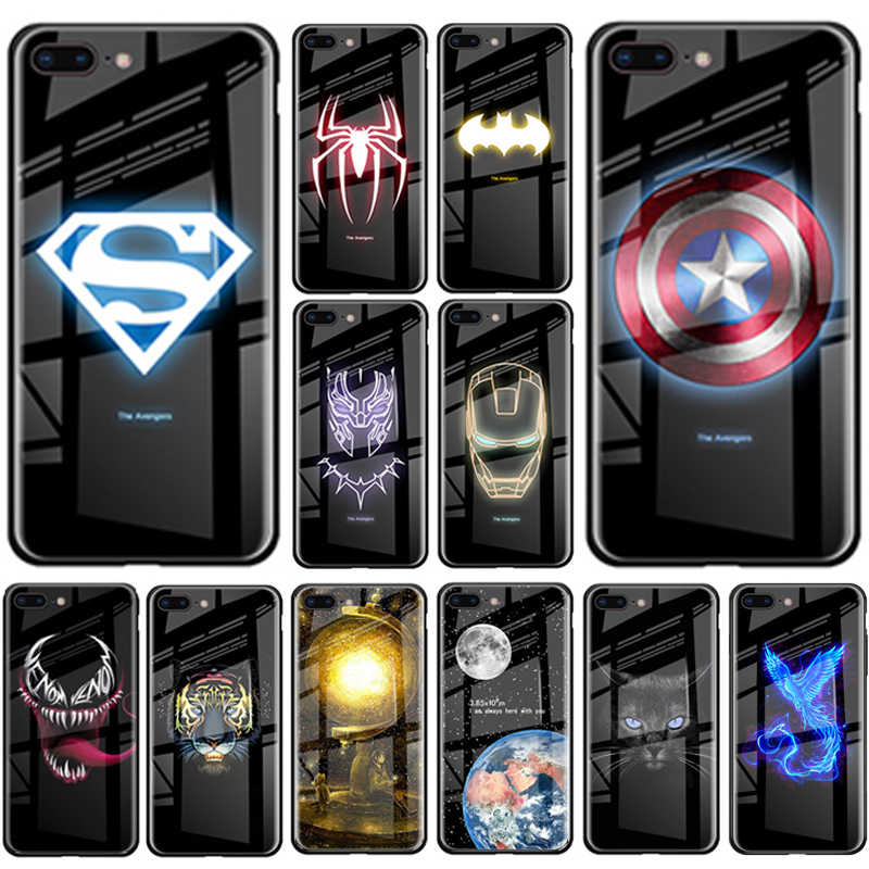 Marvel avenger batman homem-aranha caso luminoso para iphone 11 pro max xs max xr noctilucous caso de vidro para iphone 8 7 plus 6 s plus