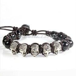 5 pcs/lot Hot vendu Hommes de Perlé argent crâne Semi-Précieuse pierre oeil de tigre Bracelet avec en cuir tressés et acier inoxydable fermoir