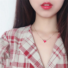 Red Heart Pendant Extra Adjustable Chain Golden Necklace for Women Temperament Simple Long Necklace Jewelry Girls Birthday Gifts цена и фото