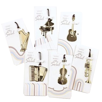 цена на Exquisite musical instrument bookmark vintage piano guitar violin metal gold plated gift music is my soul bookmark