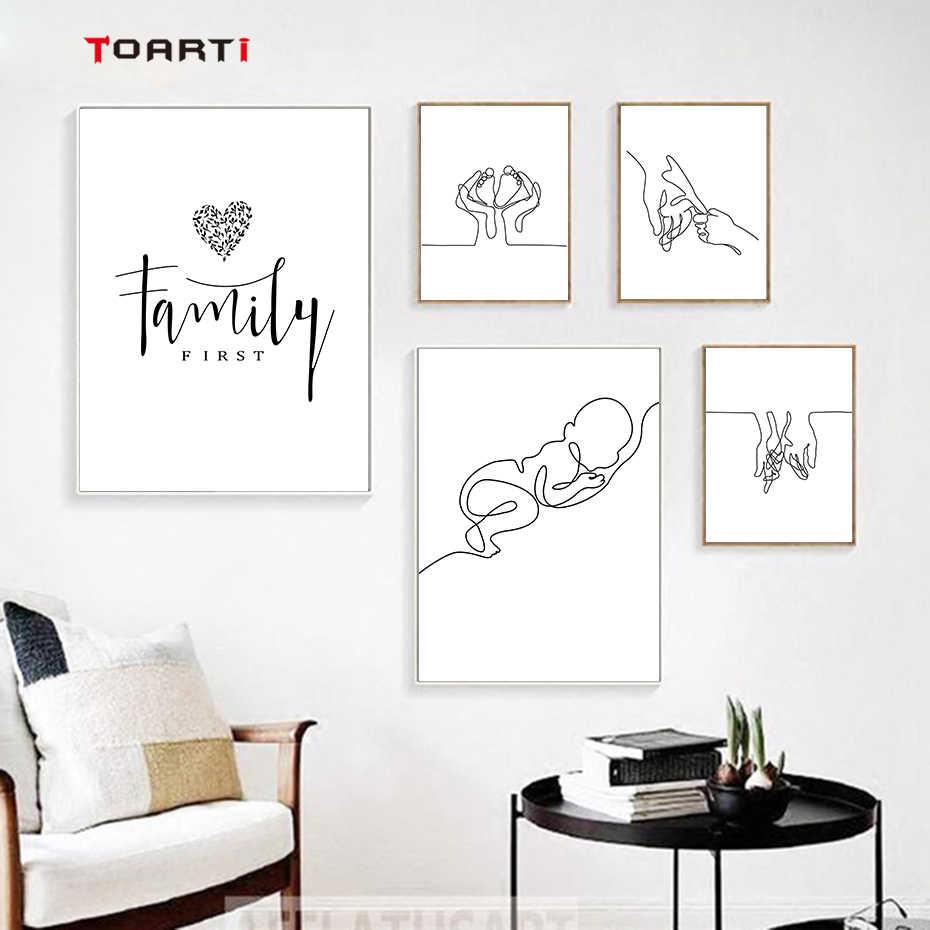Minimalista, línea de cuerpo humano, dibujo para pared, arte moderno, pintura abstracta, citas familiares, pósteres y impresiones Vintage, decoración del hogar para sala de estar
