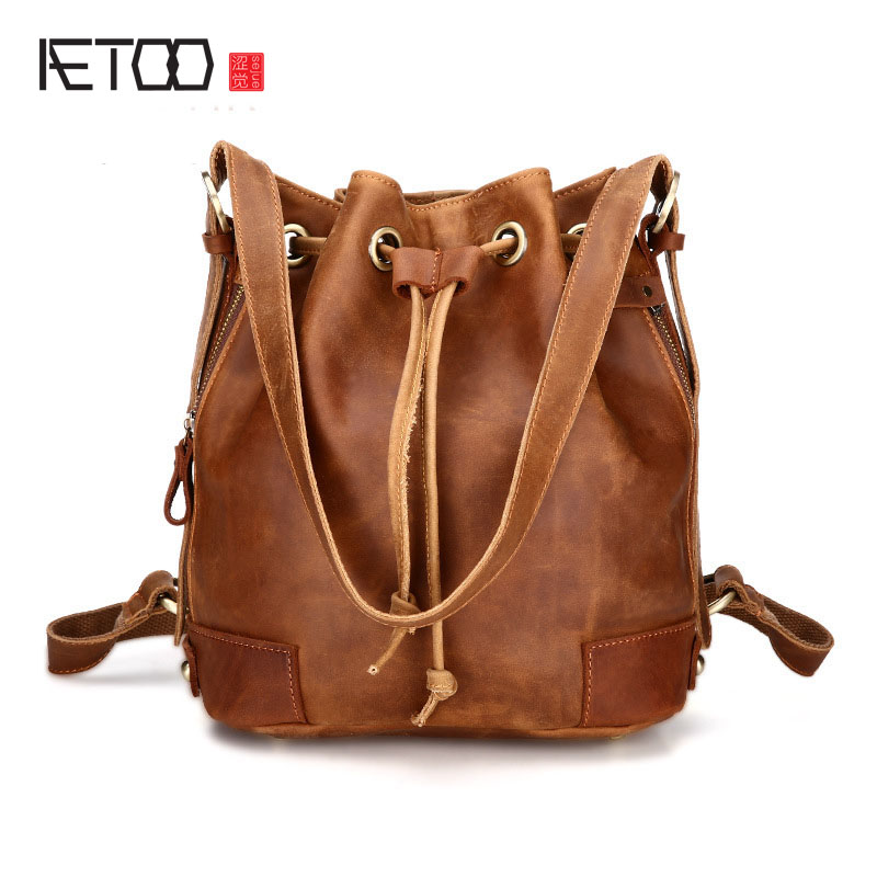 AETOO New shoulder bag handbags fashion leisure first layer cowhide shoulder bag water bag retro trend handbags women leather aetoo women retro shoulder bag fashion handbags europe and america shoulder bag head layer cowhide mad horse shopping bag
