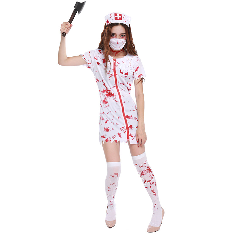 Halloween party carnaval kigurumi cosplay costume horrible nurse dress tricky bloody Mary nurse tricky party