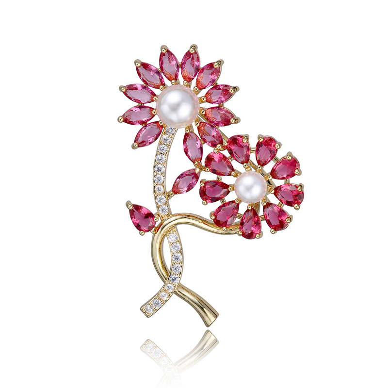 Natural Pearl Luxurious Flower Brooch Solid Silver Corsage Ornaments Fine Workmanship Jewelry For women's Gift