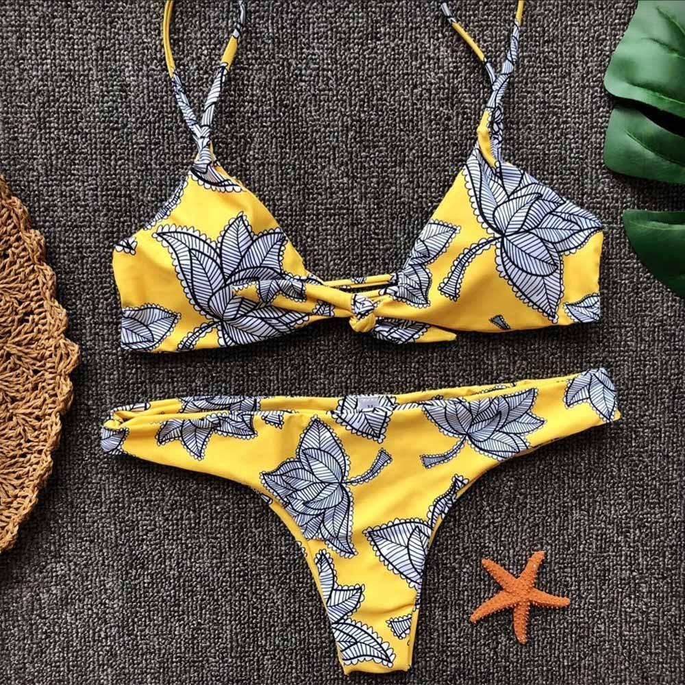 Bowknot Women Yellow Leaves Printing Bikini Set Push-Up Padded Bra Swimwear Two PCS Halter Swimsuit Low Waist Bandage Beachwear цена 2017
