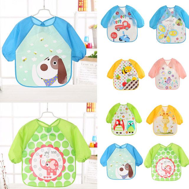 Cartoon animals Baby Bibs Long Sleeve Apron Smock Feeding Waterproof Colorful children Bib Burp Clothes Feeding Bib baby boy