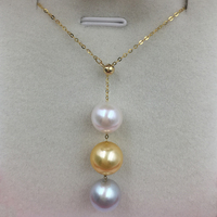Sinya многофункциональный кулон 18 К Au750 золотое ожерелье с 3 шт. Akoya жемчуг для мамы для женщин и девочек Lover Y стиль регулируемая цепь