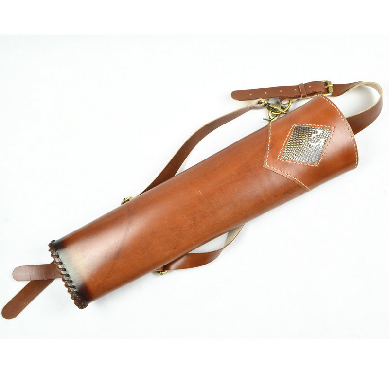 New Hand Crafted three point shoulder back Top Head Layer Cowhide Leather Archery Quiver Brown holding for Hunting