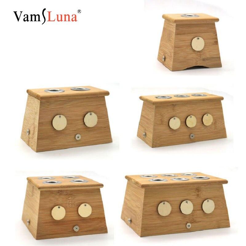 Bambou Moxibustion créative Moxa bâton boîte de support pour l'arthrite cou un deux trois quatre Six trous plaque de fer couverture intérieure