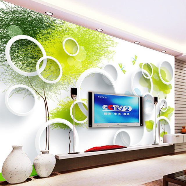 Custom 3D Wall Murals Wallpaper Modern Abstract Circles Tree TV