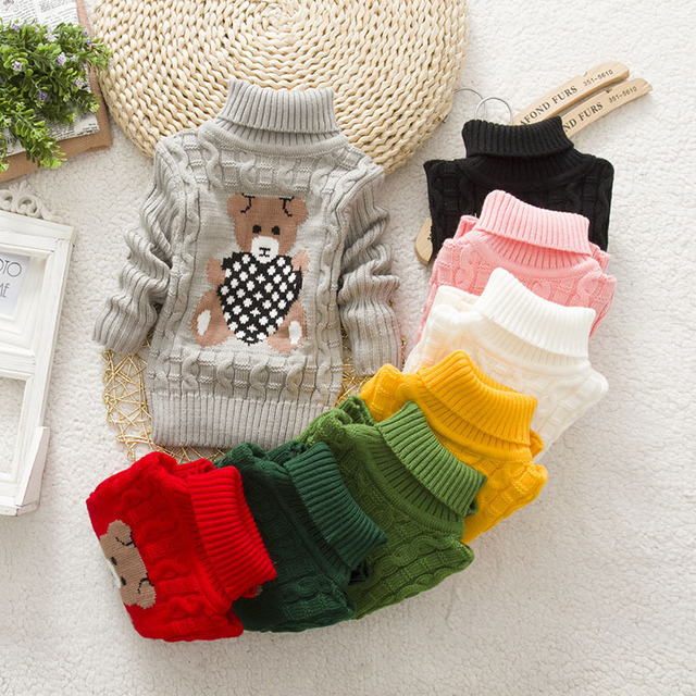 Baby Boys Girls High Neck Warm Sweater Round Sweaters Clothes Winter Autumn Dresses  Kids Pullover Knit Loose Top Baby Clothes