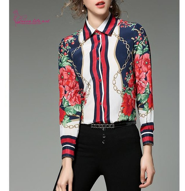 """QueenLifeArt"" spring dress with long sleeves high collar printed fashion temperament Bohemian Blouses Shirts"