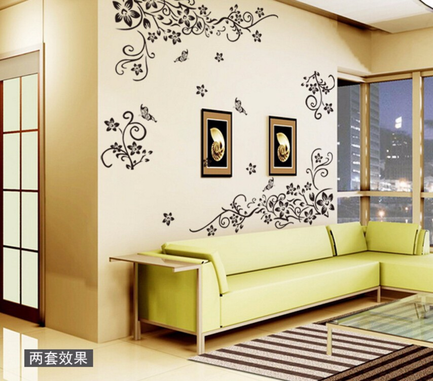 Hot DIY Wall Art Decal Decoration Fashion Romantic Flower Wall Sticker/ Wall Stickers Home Decor 3D Wallpaper Free Shipping 15